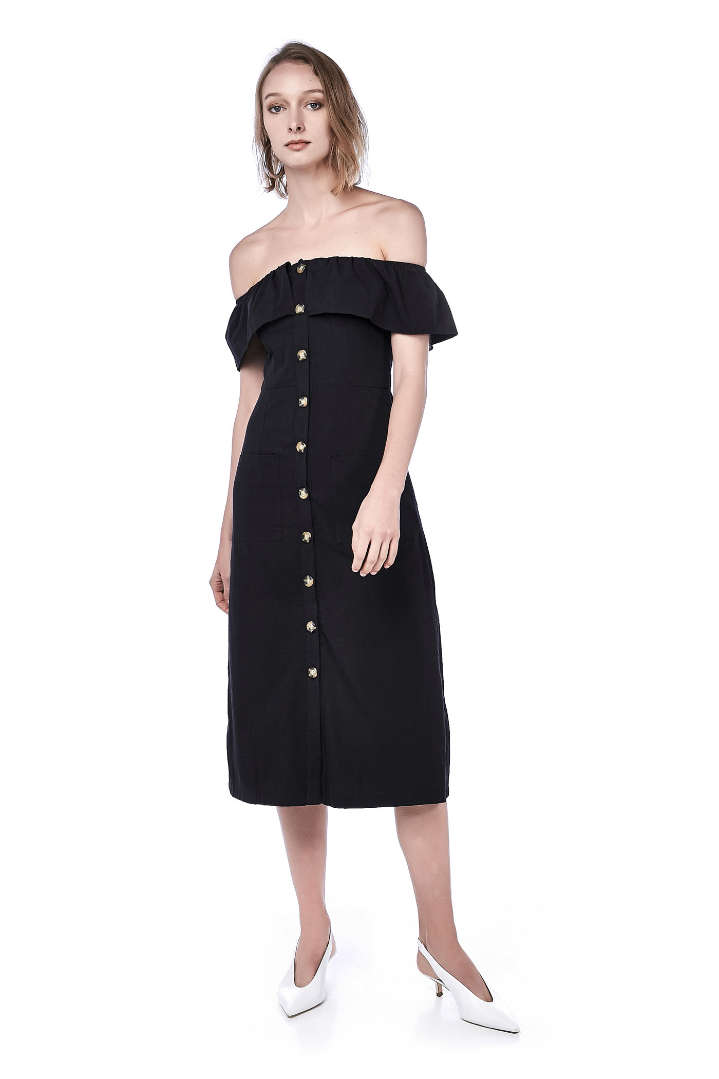 Laure Linen Off-Shoulder Midi Dress