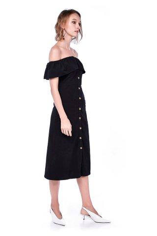 Laure Linen Off-Shoulder Midi Dress
