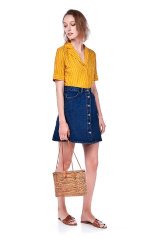 Tina Button-Down Denim Skirt