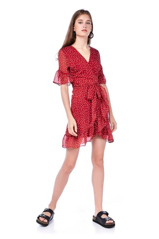 Katelyn Overlap Ruffle Dress