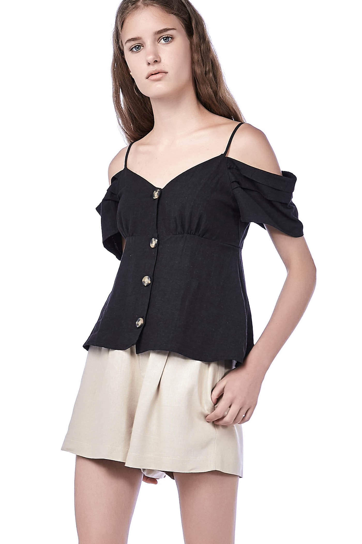 Danya Cold-Shoulder Crop Top