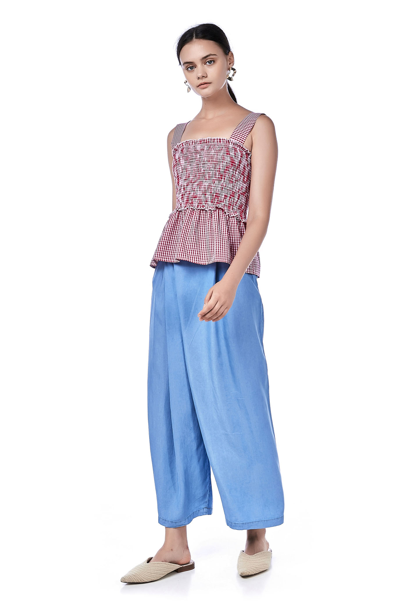Gwayn Cross-Flap Wide Leg Pants