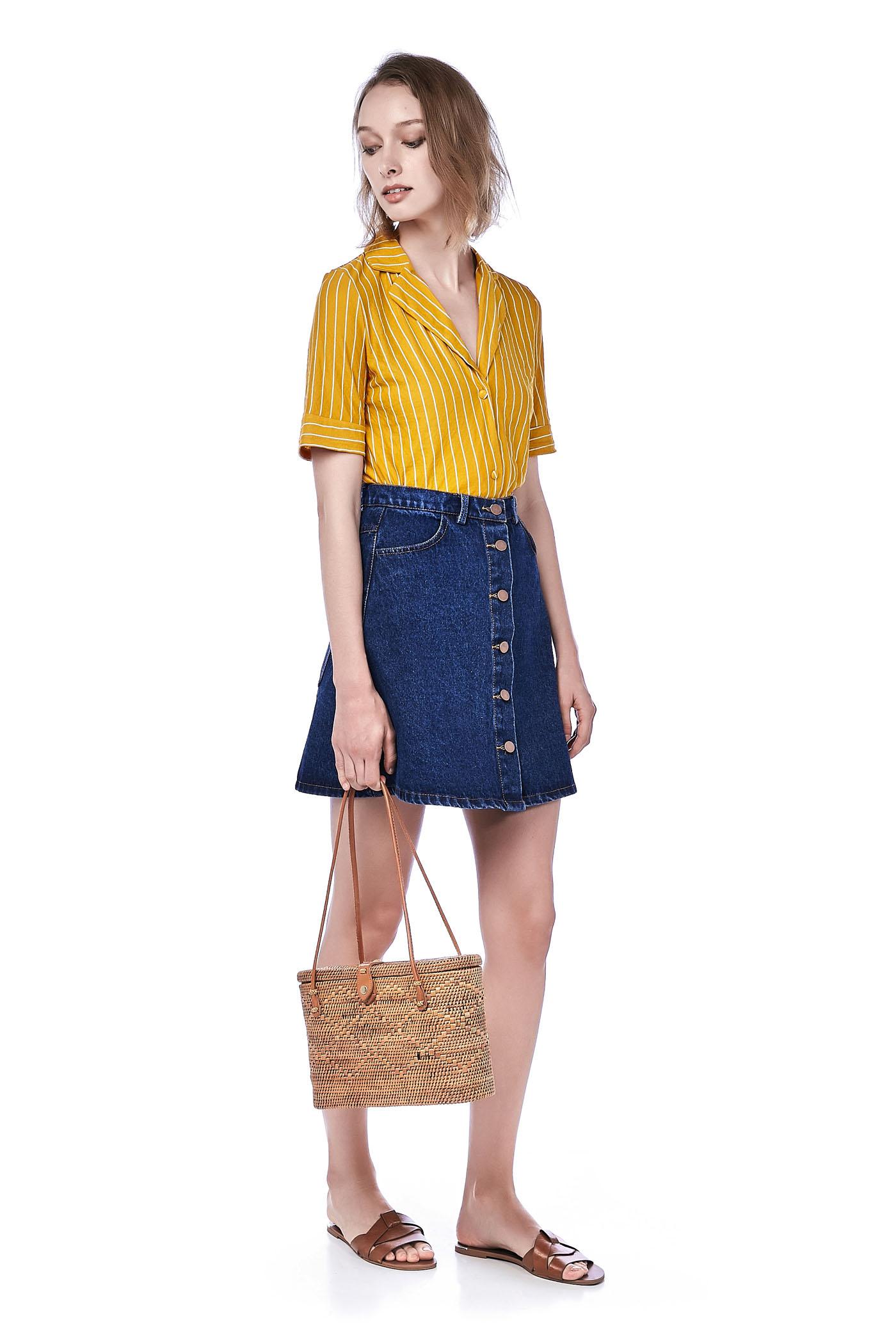 Tina Button-Down Denim Skirt