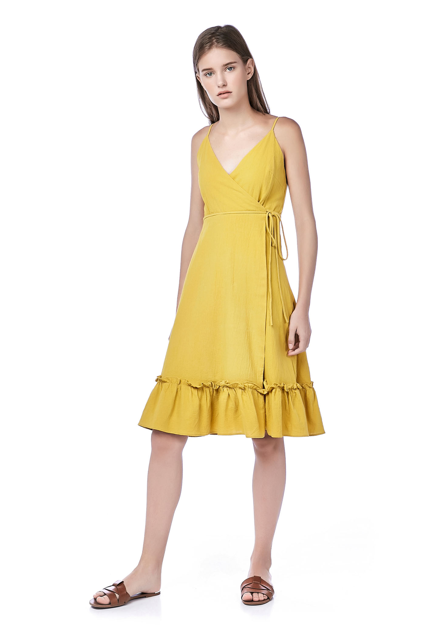 Fellie Ruffle-Hem Wrap Dress