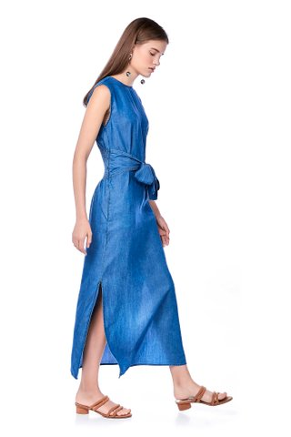 Brandy Gathered-Waist Denim Dress