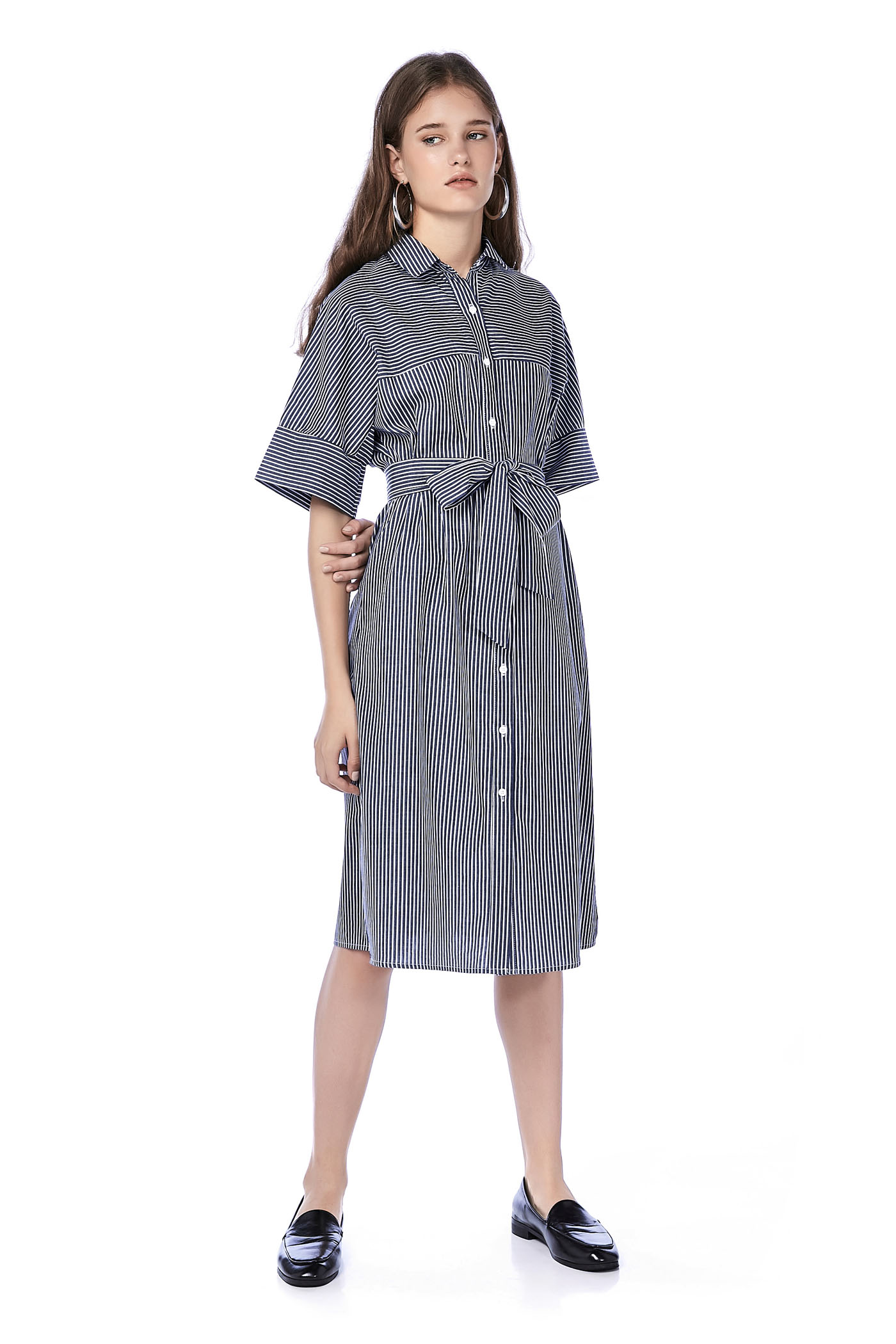 Abriya Mix Stripe Shirtdress