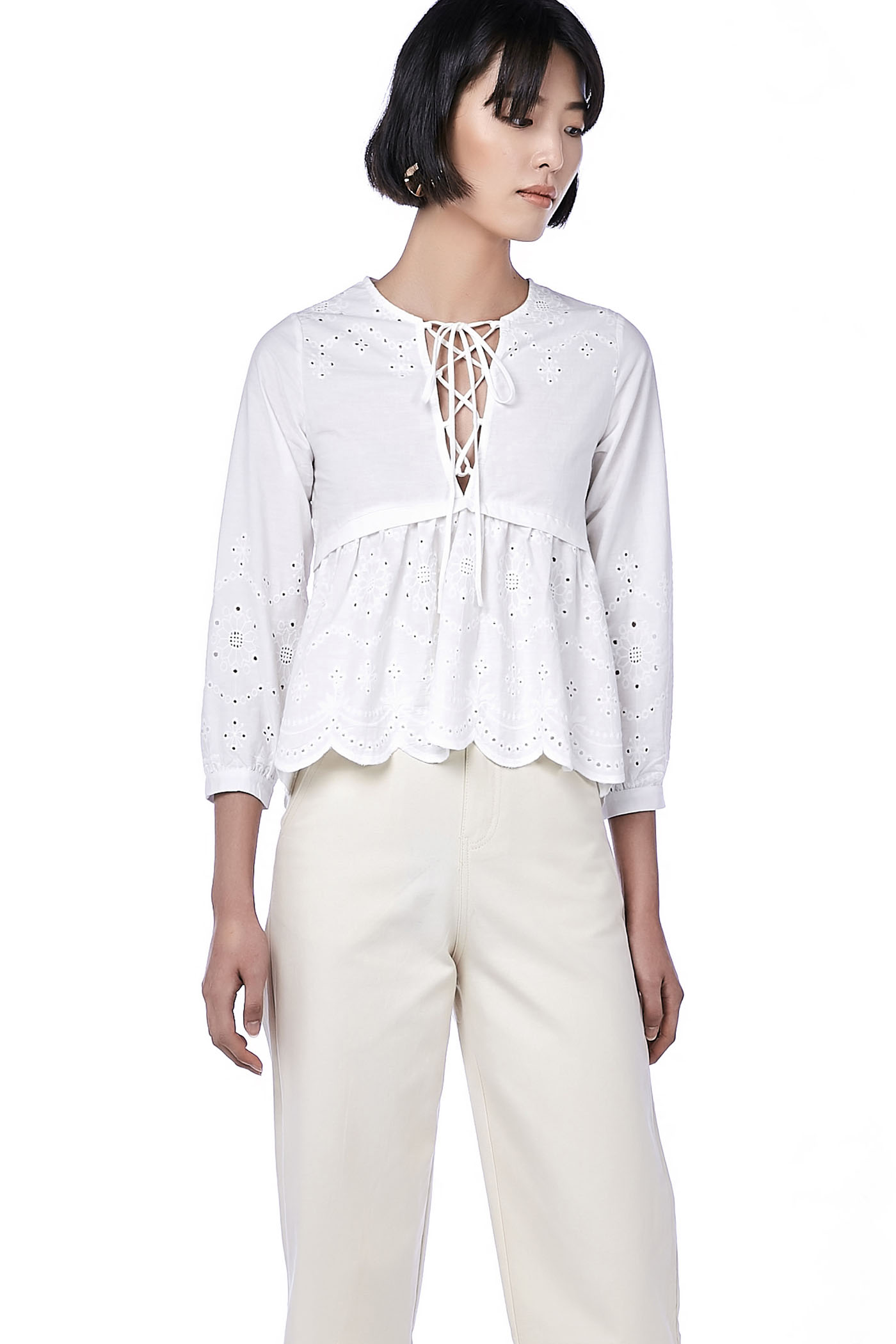 Malini Lace-Up Broderie Blouse