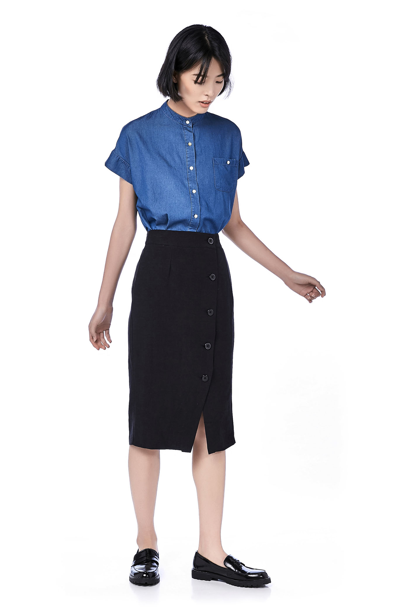 Keill Button-Through Midi Skirt