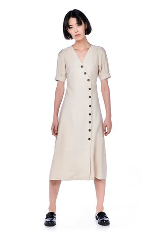 Edyna Pouf-Sleeve Midi Dress