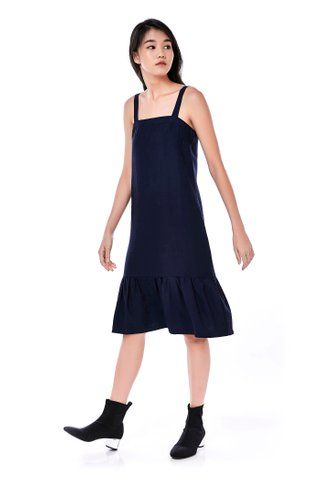 Melcho Ruffle-Hem Midi Dress