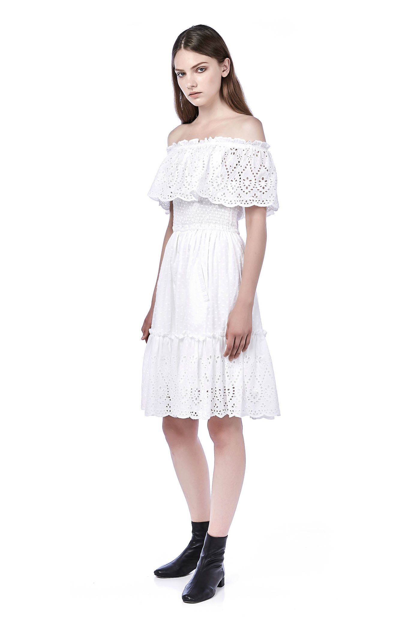 Erith Off-Shoulder Eyelet Midi Dress