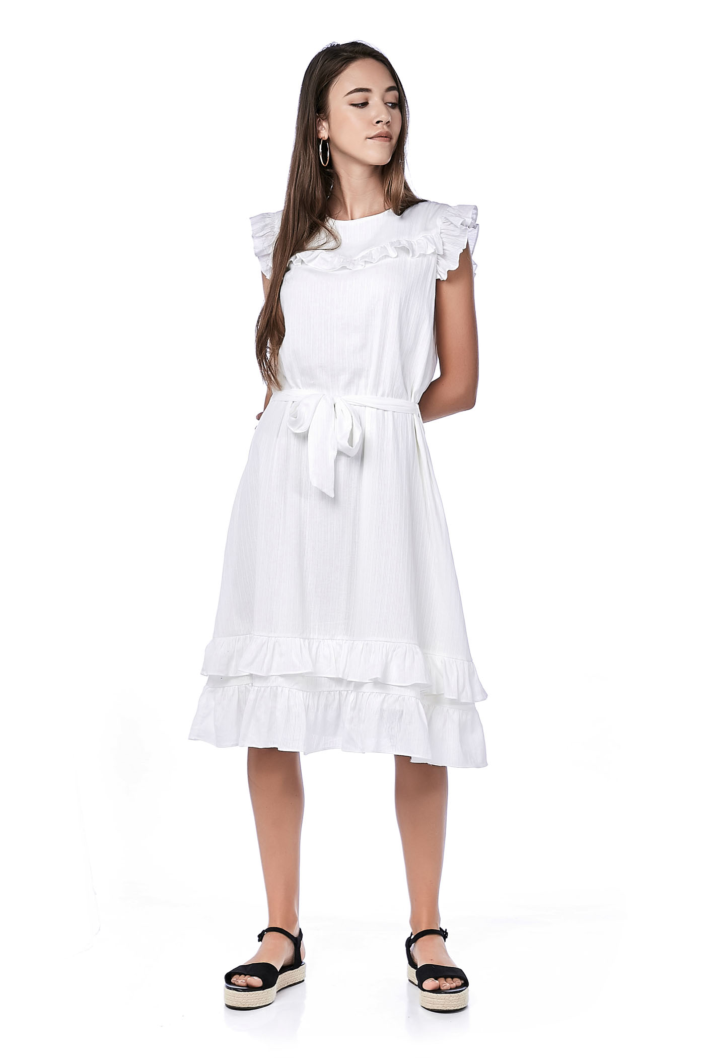 Morlinda Ruffle Midi Dress