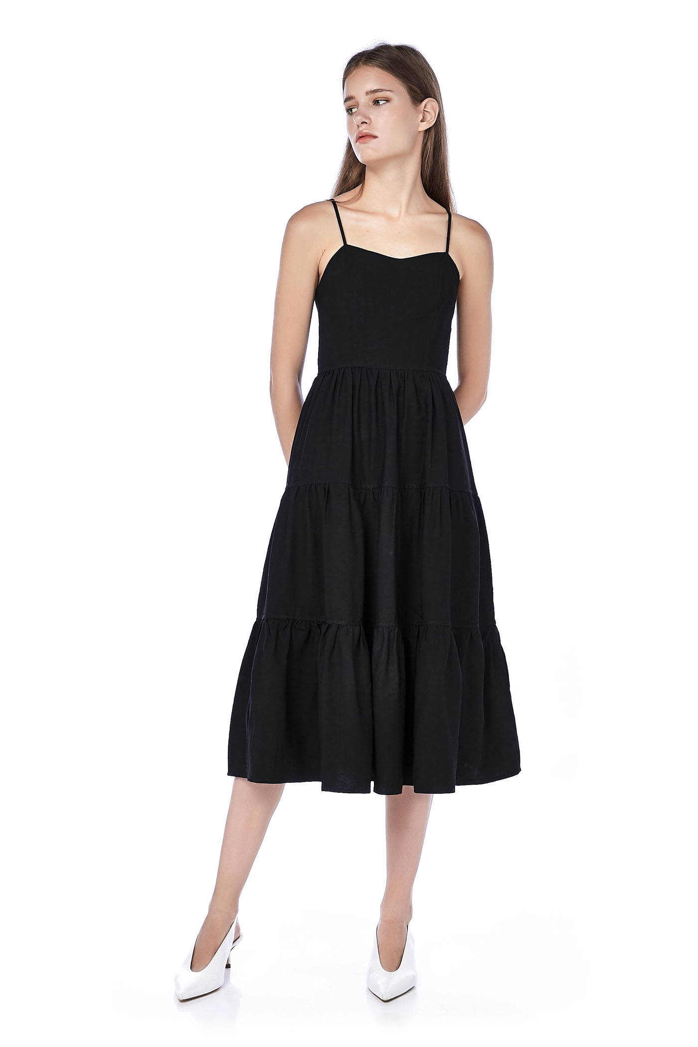 Oriena Tiered Midi Dress