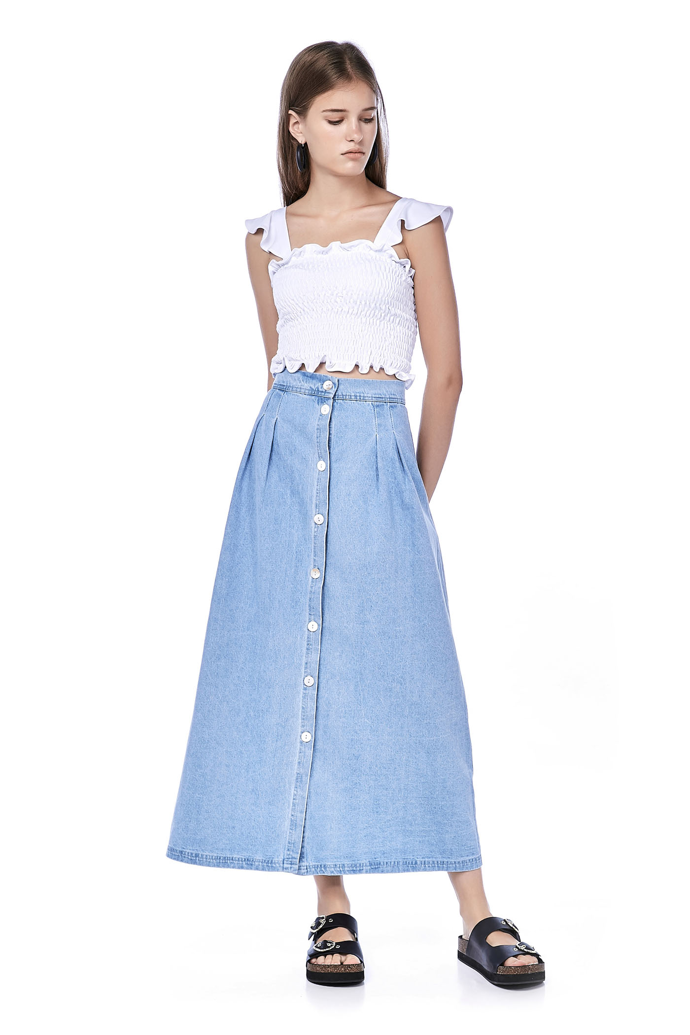 Lyre Button-Through Denim Skirt