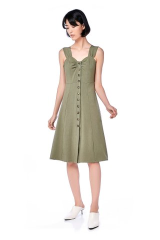 Cyndel Button-Through Midi Dress
