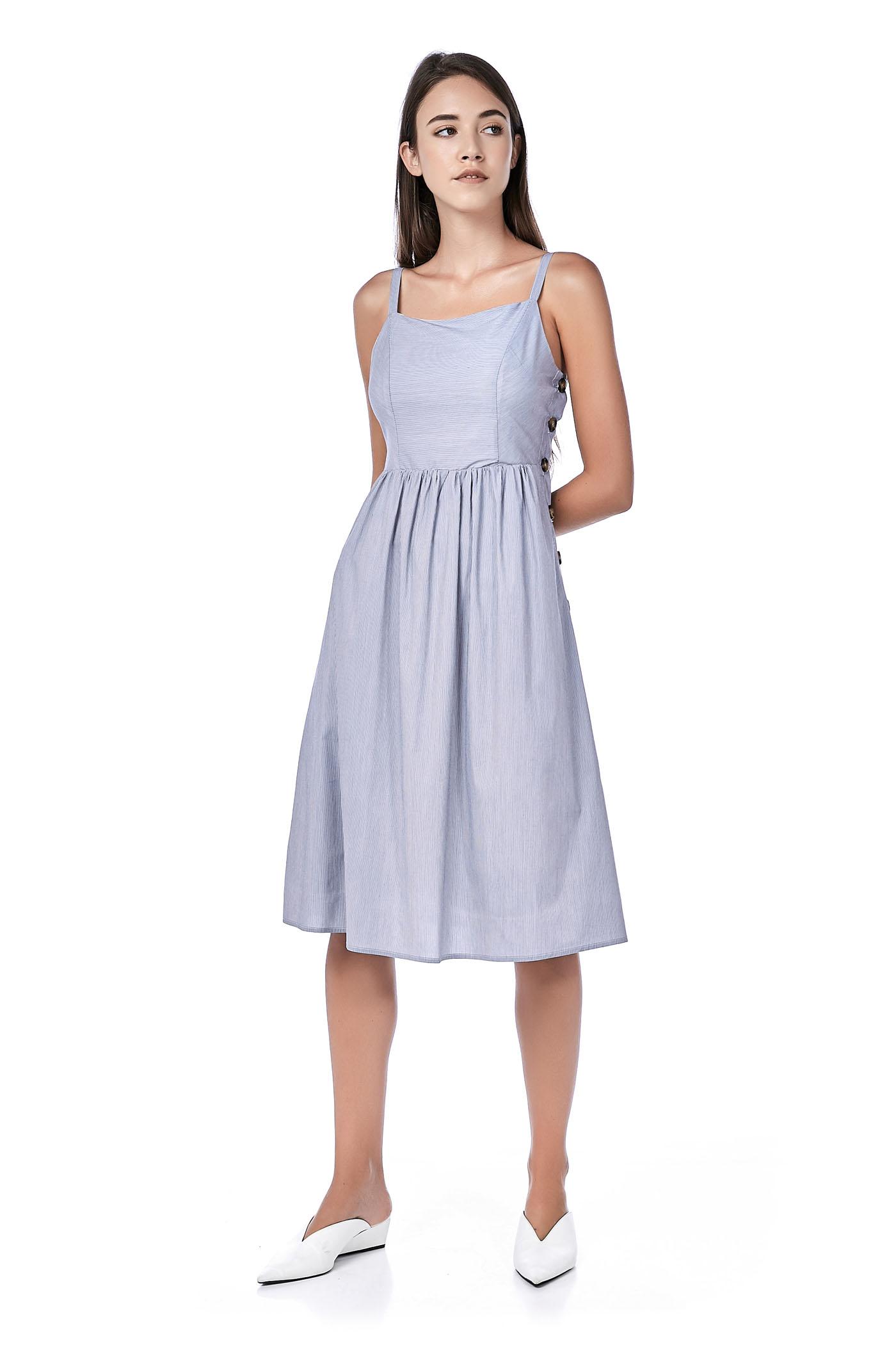 Chaleur Side-Button Midi Dress