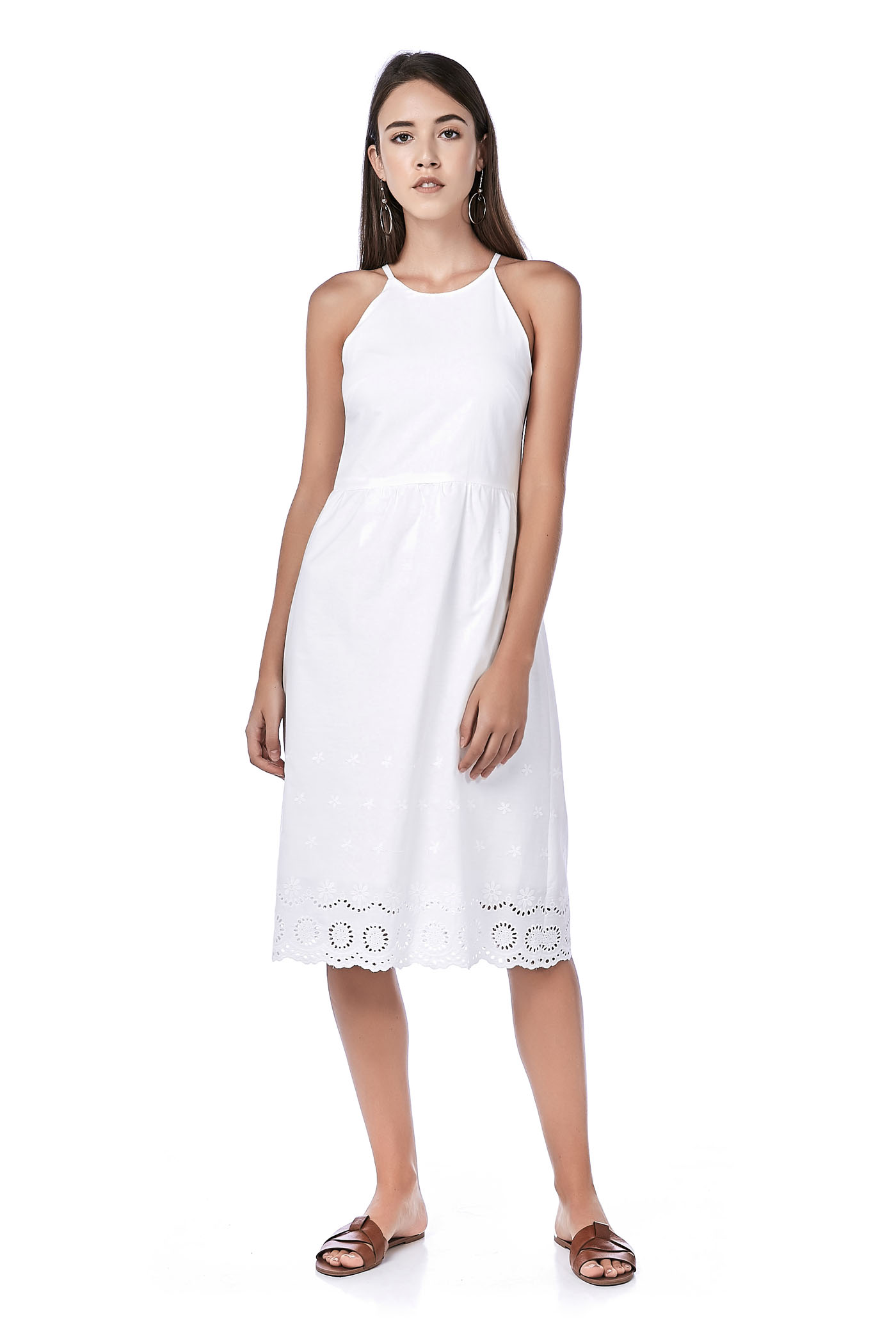 Karen Bib Broderie-Hem Midi Dress
