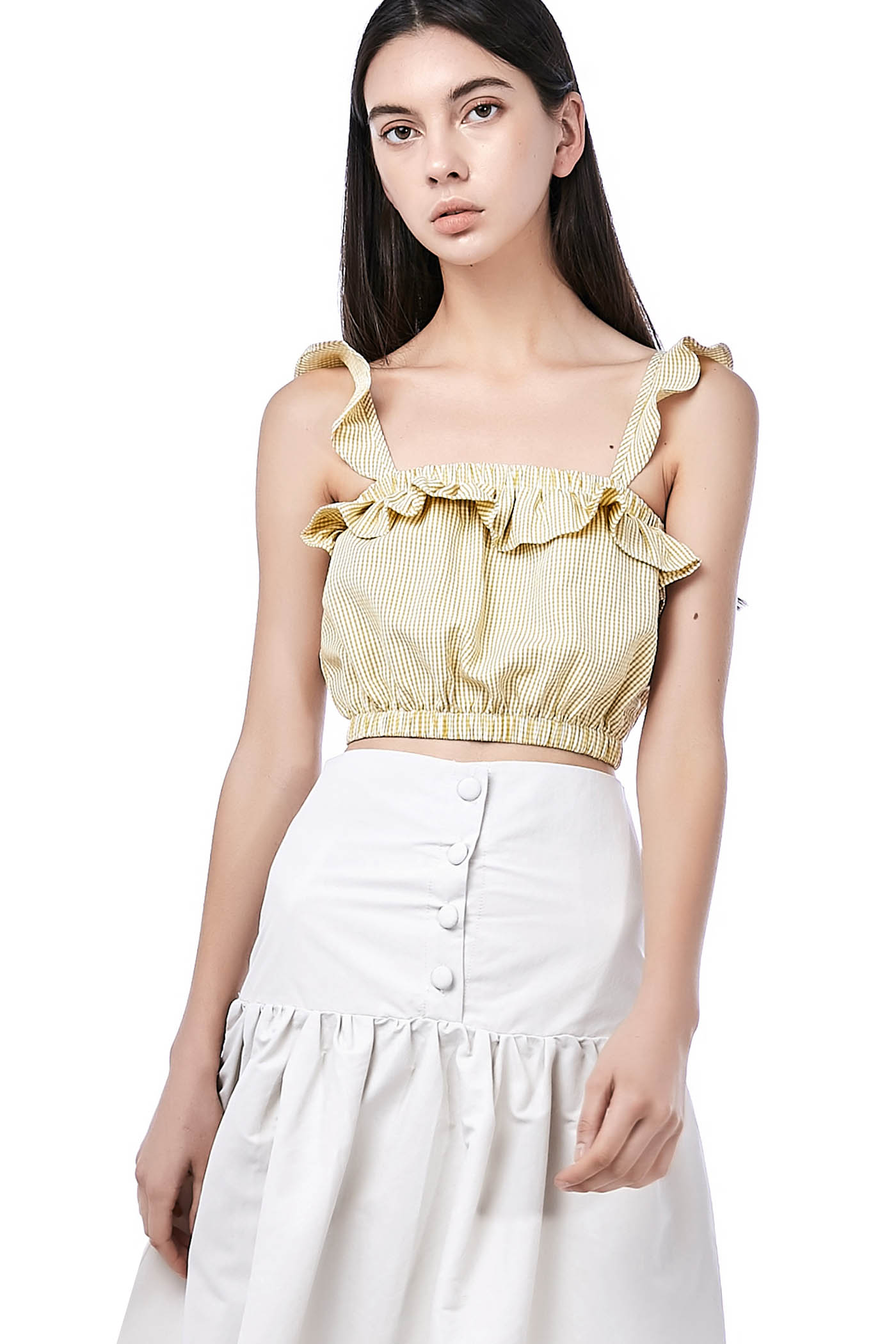 Rinta Ruffle-Trim Crop Top