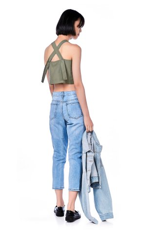Reesa Back-Button Crop Top
