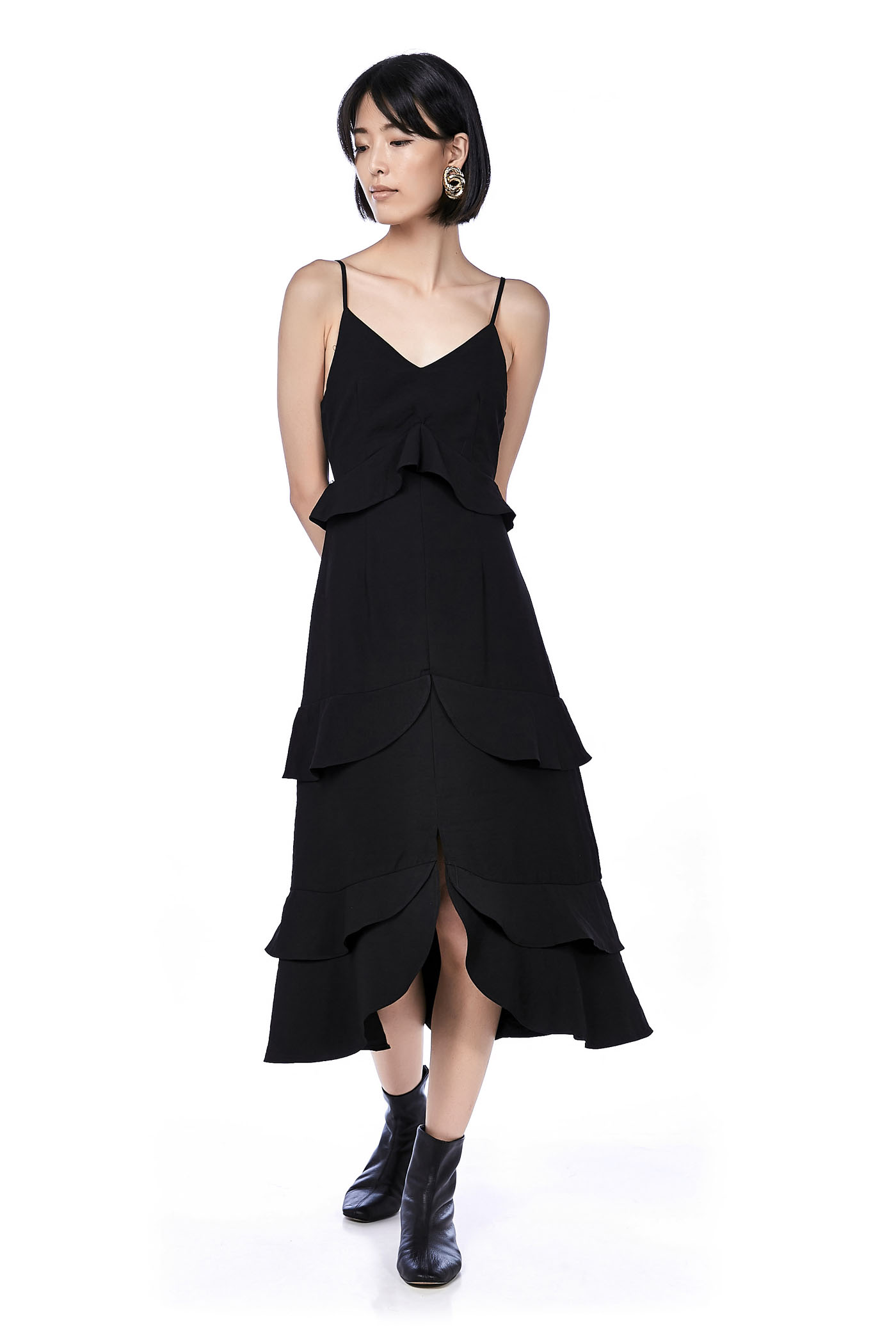 Nalini Ruffle Back-Tie Maxi Dress