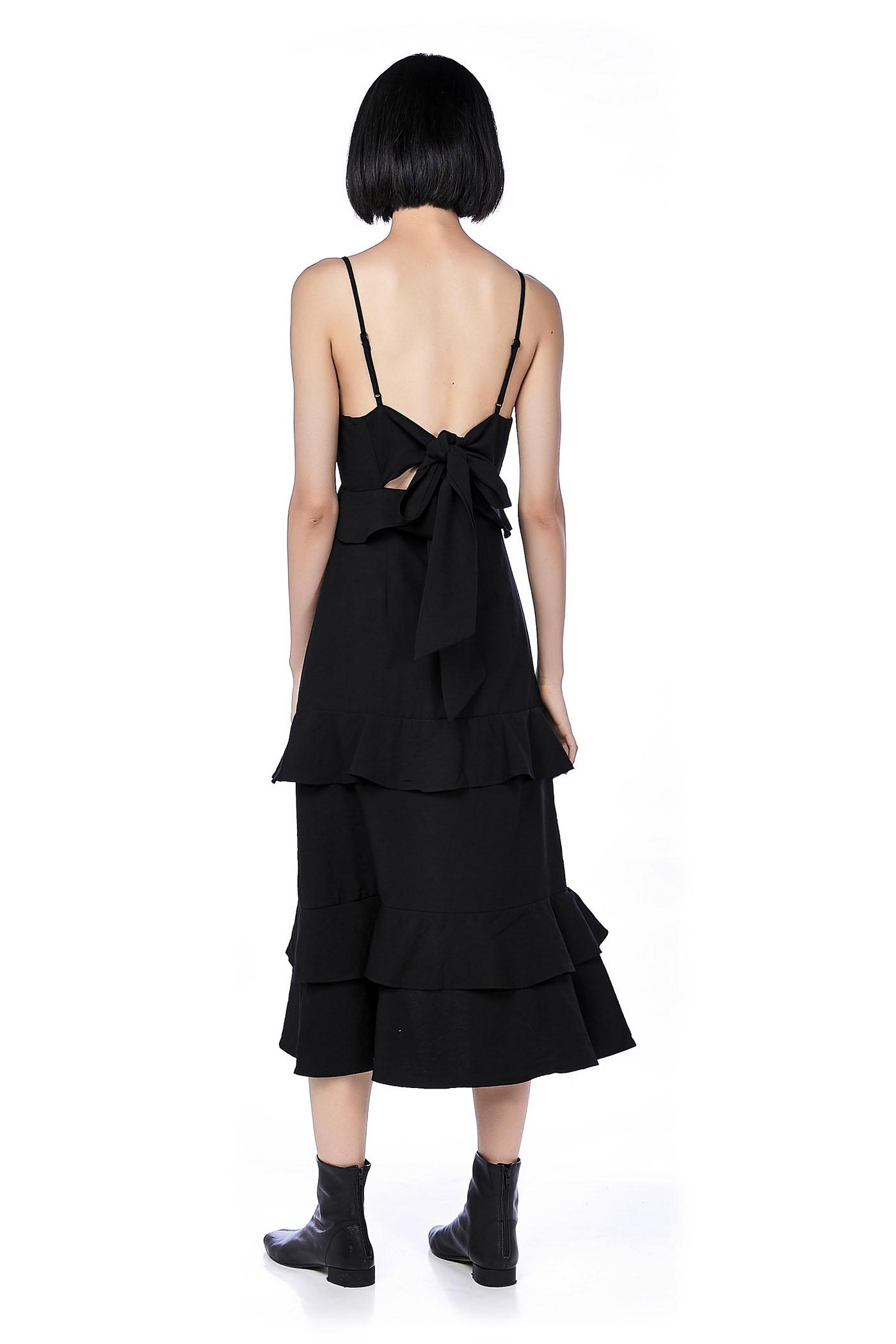 Nalini Ruffle Back-Tie Maxi Dress