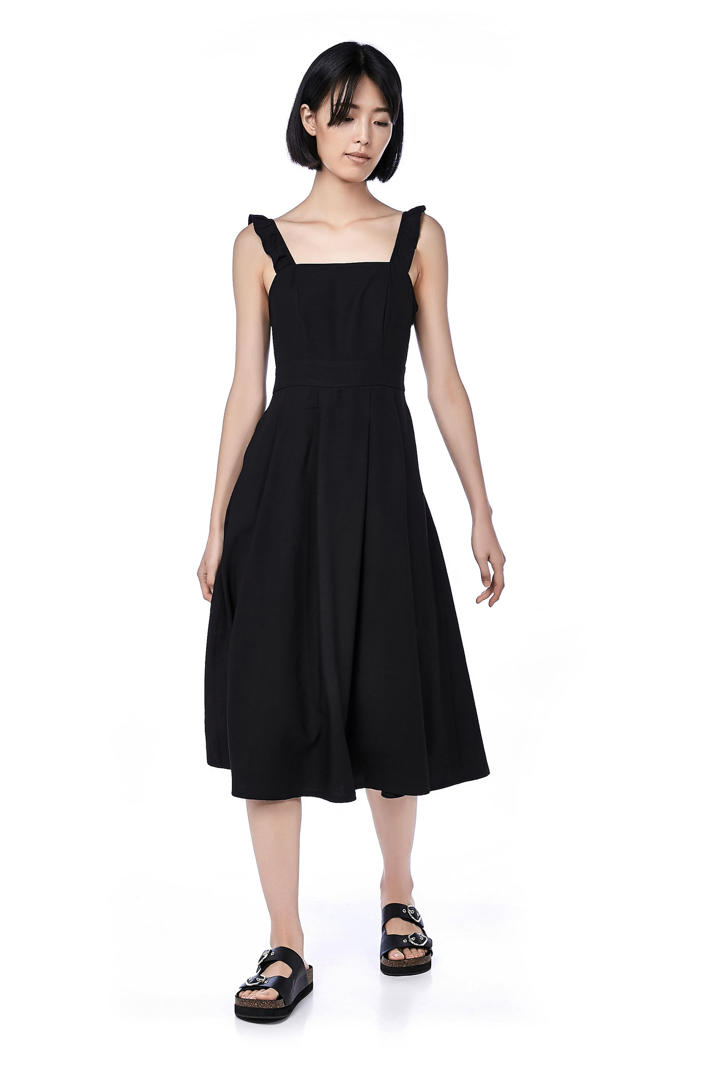 Rozelle Ruffle-strap Midi Dress