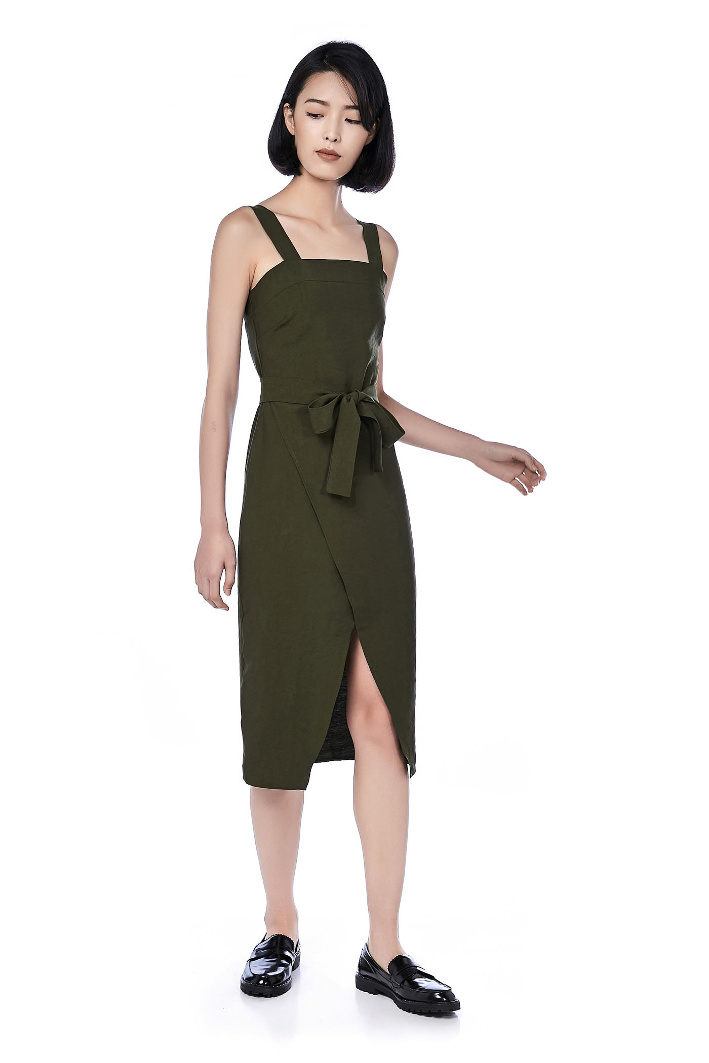 Jass Overlap Midi Dress