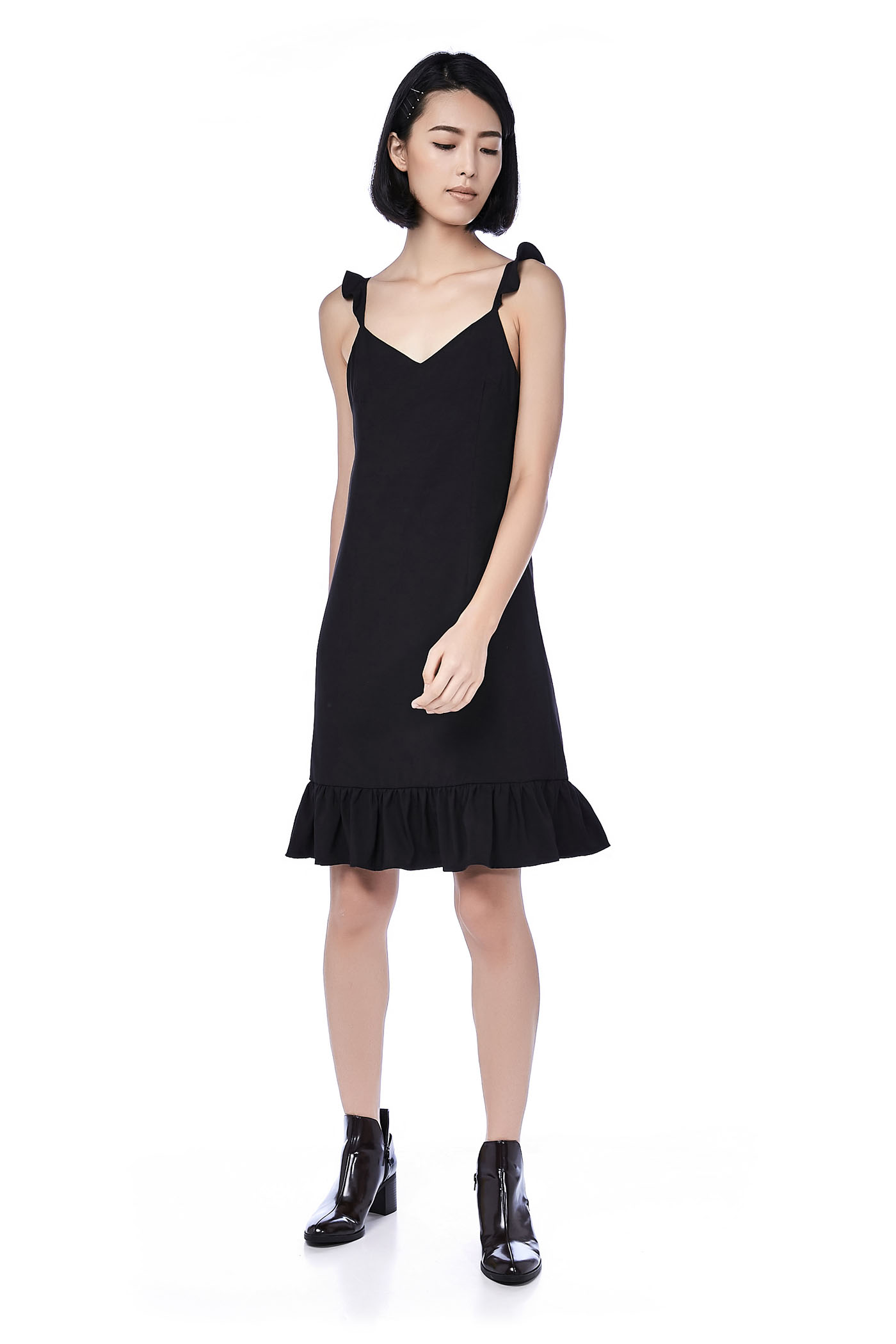 Marla Ruffle-Hem Midi Dress