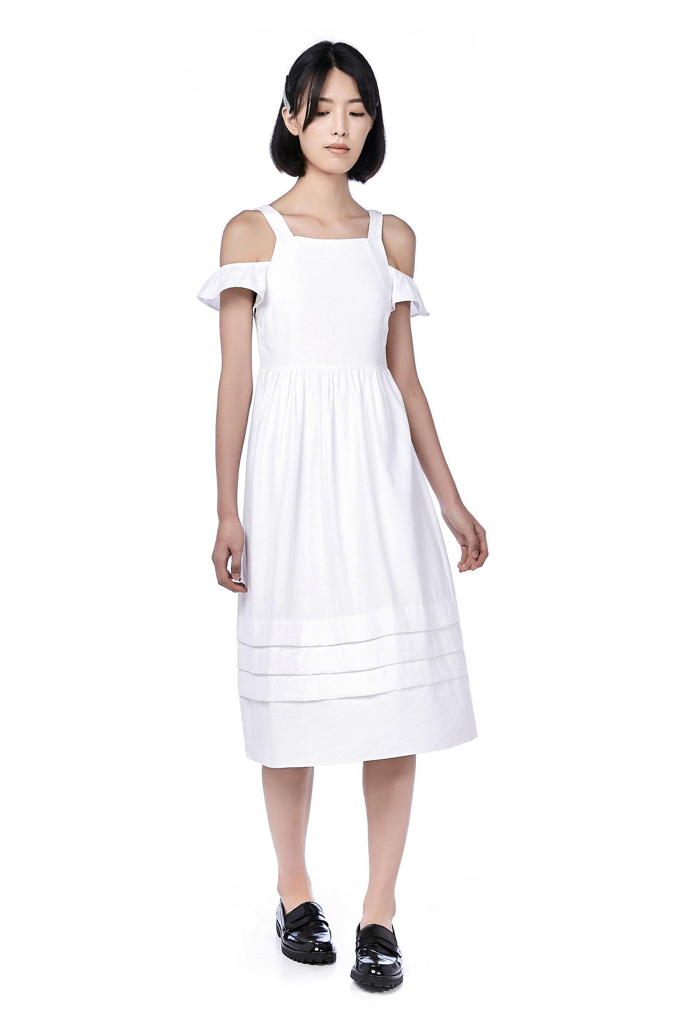 Loisa Cold-Shoulder Tuck Hem Dress