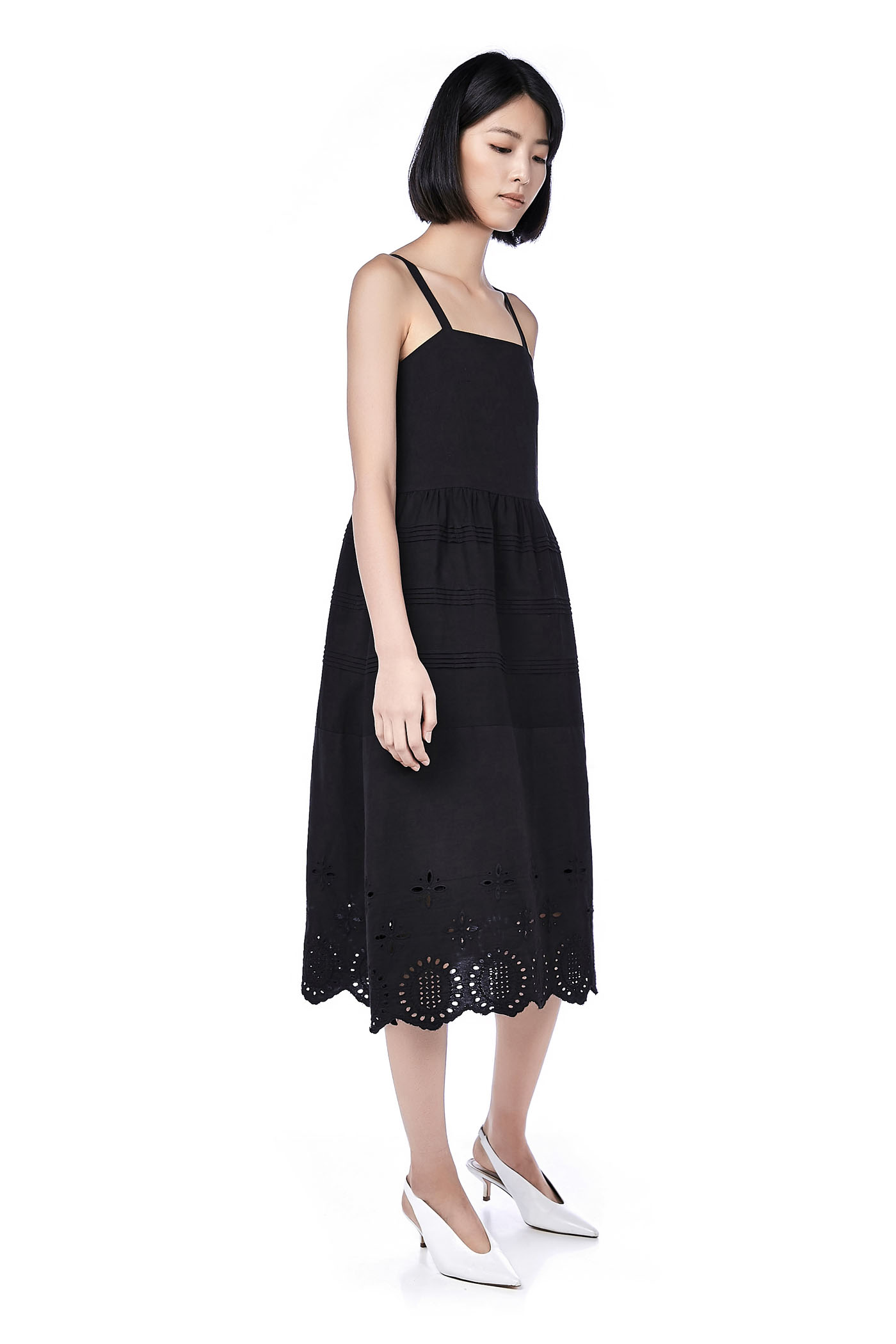 Vinn Pin Tuck Broderie-Hem Dress