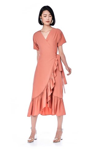 Creen Ruffle Wrap Dress