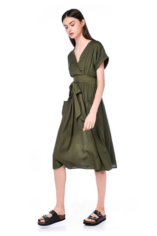 Shelaine Cross-front Midi Dress