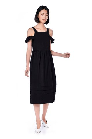 Loisa Cold-Shoulder Tuck Hem Dress