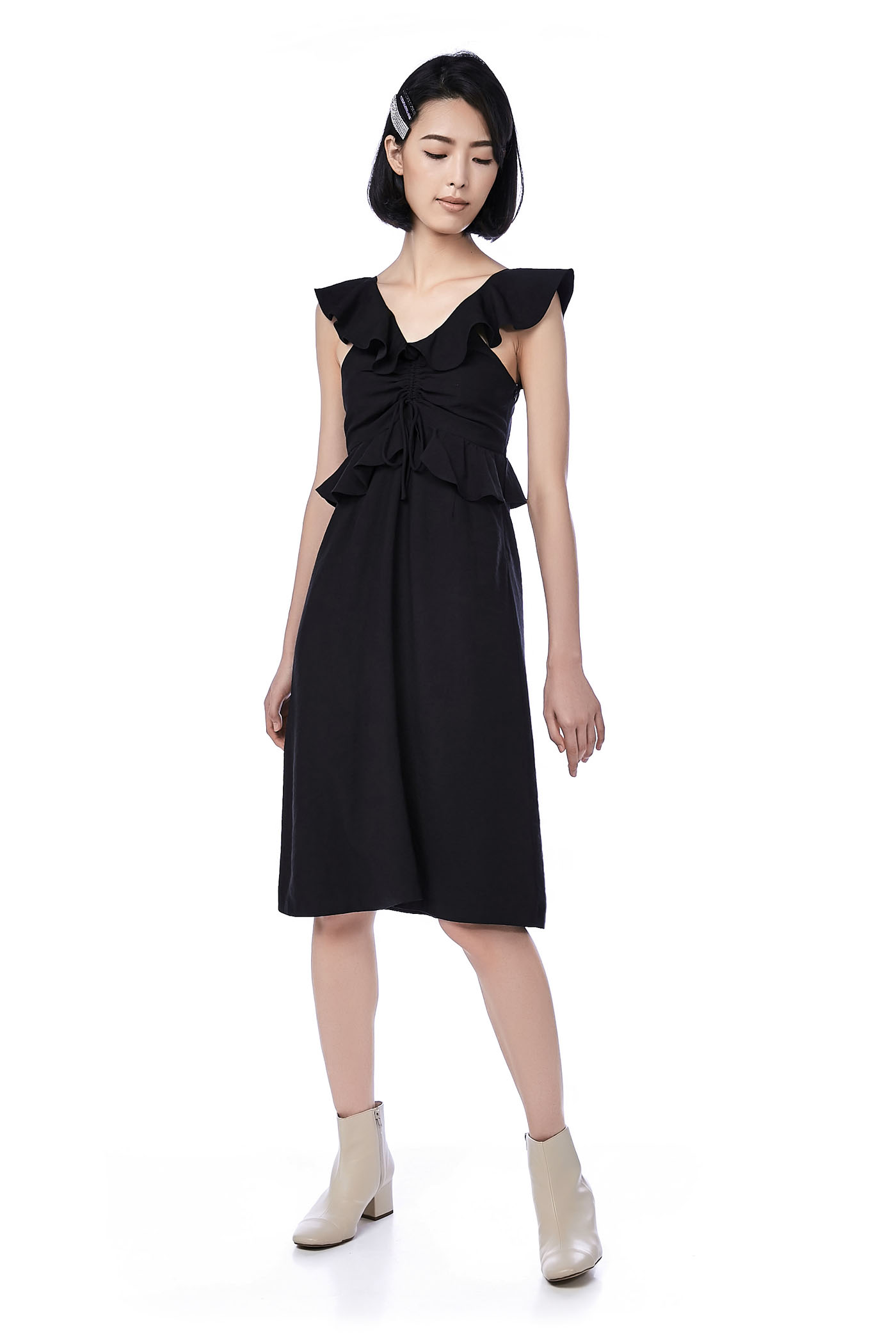 Roxette Ruffle-Trim Midi Dress