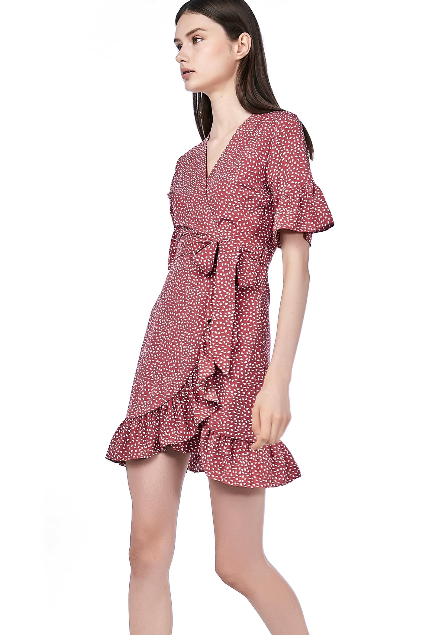Keshi Overlap Ruffle Dress