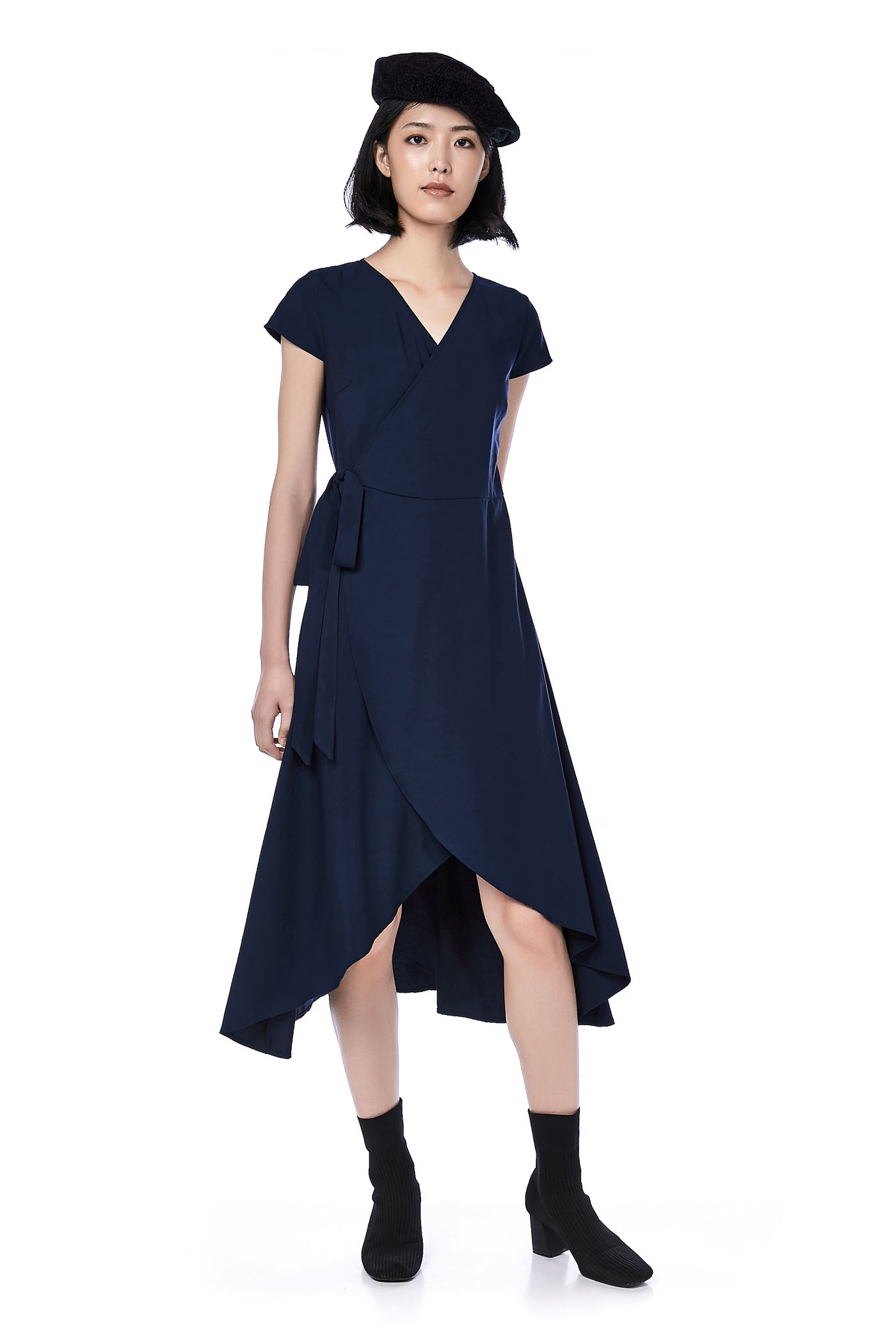 Brena Dip-hem Wrap Dress