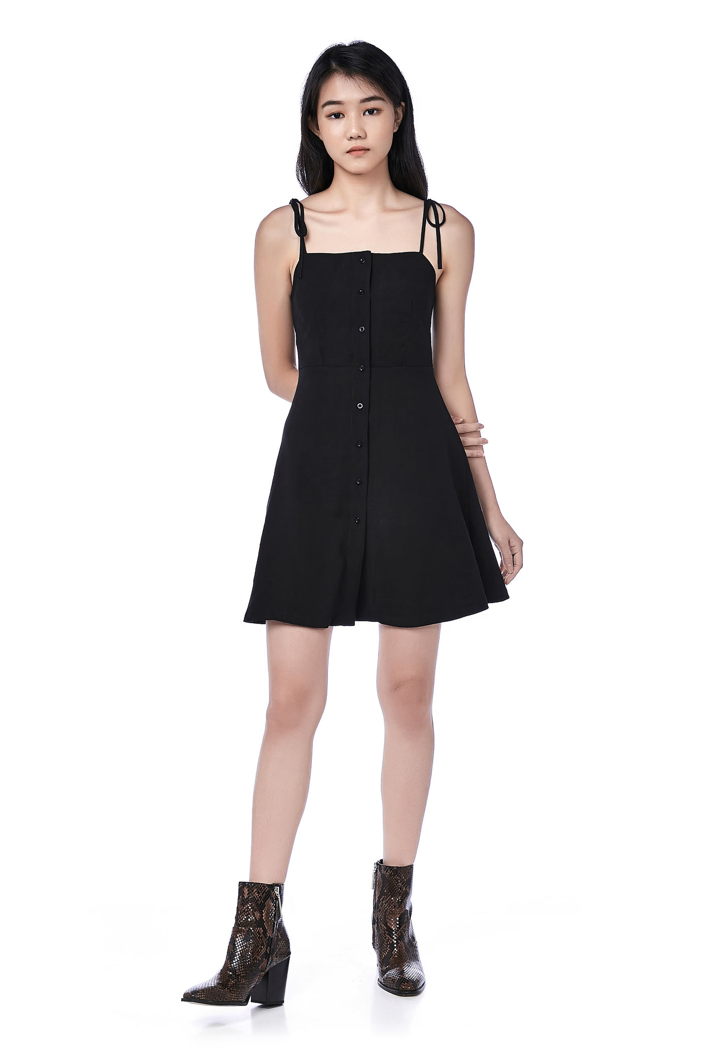Tafetta Button-Through Bib Dress