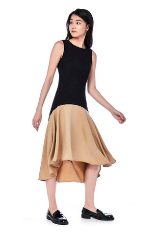 Fenn Drop Waist Dip-Hem Dress