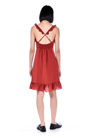 Narah Ruffle-Strap Cross Back Dress