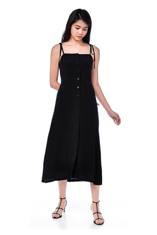 Riviera Button-Through Bib Midi Dress