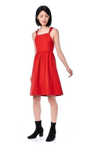 Ariza Ruffle Strap Cross-Back Dress