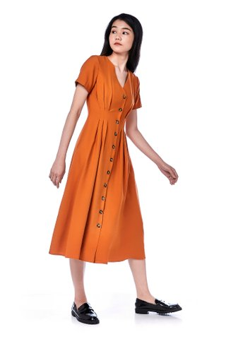 Ifea Tuck-Seam Midi Dress