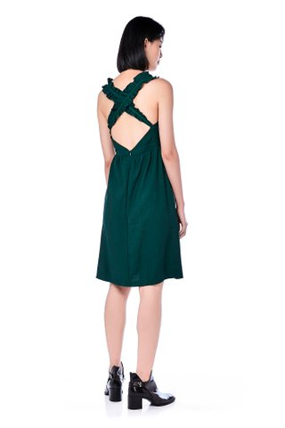 Ariza Ruffle Strap Cross-Back Dress