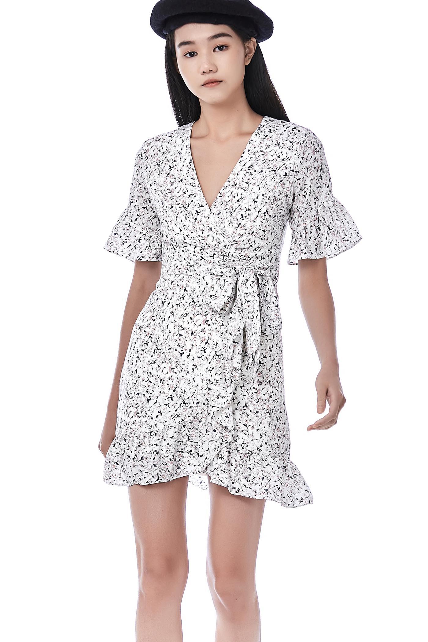 Keshi Wrap-front Ruffle Dress