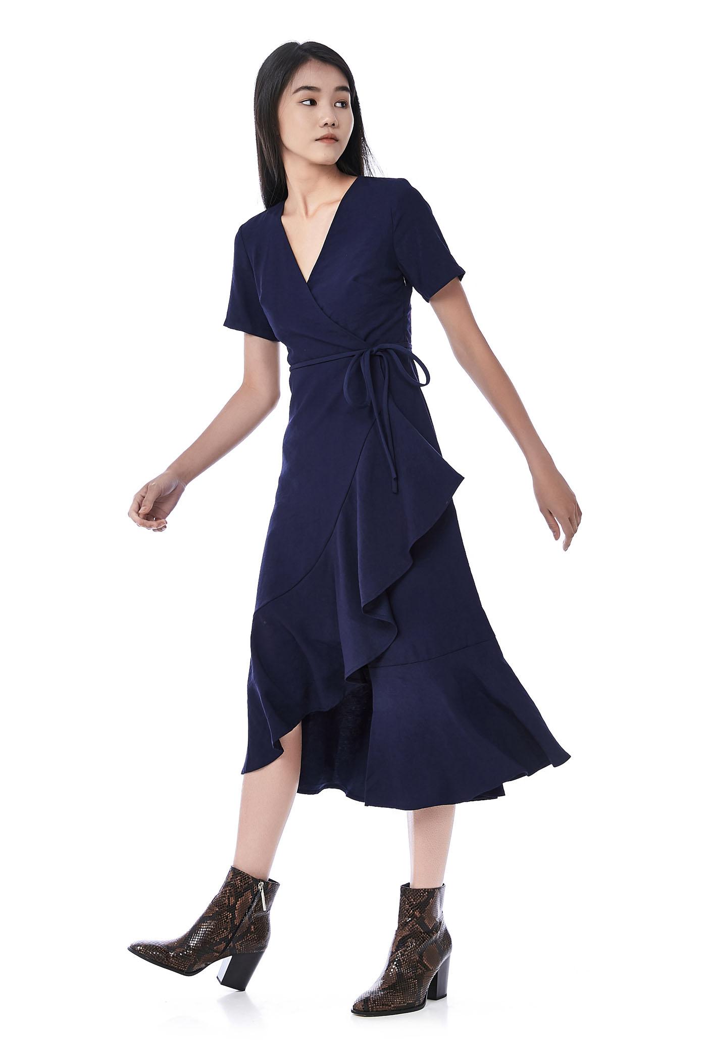 Aly Overlap Ruffle-Hem Maxi Dress