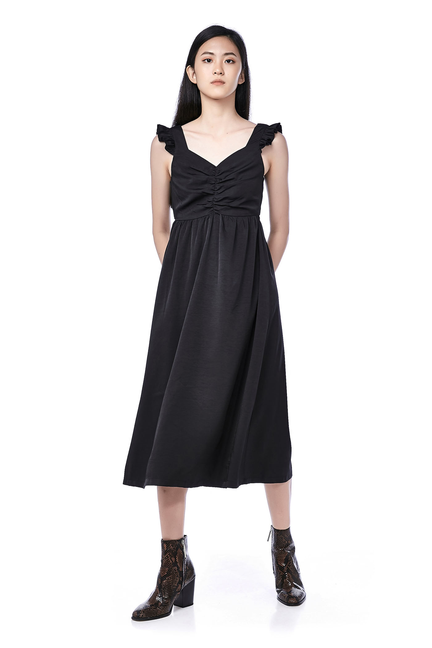 Salene Ruched-Front Midi Dress