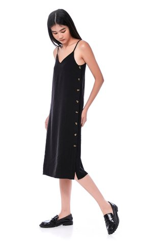 Jayda Side-Button Slip Dress