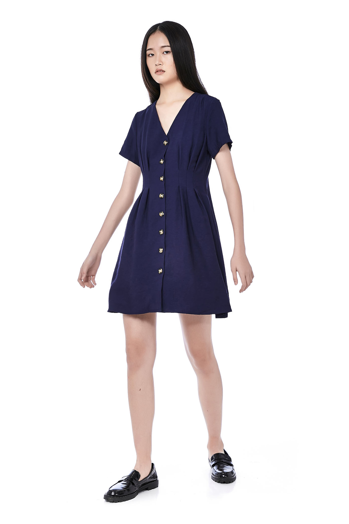 Catt Tuck-Seam Button-Through Dress