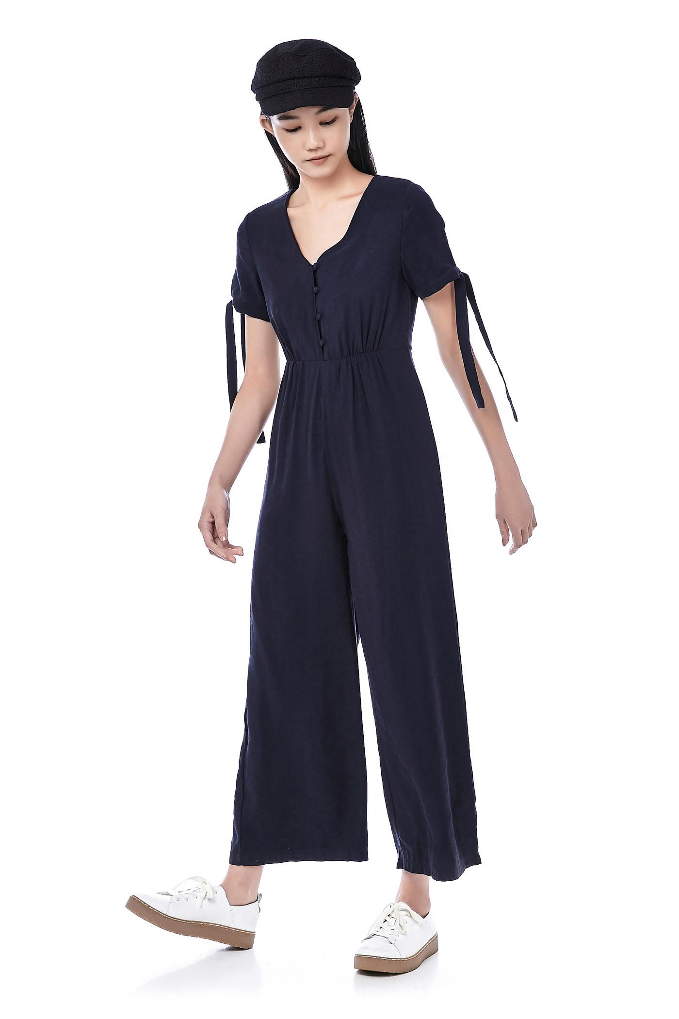 Jenile Tie-Sleeve Jumpsuit
