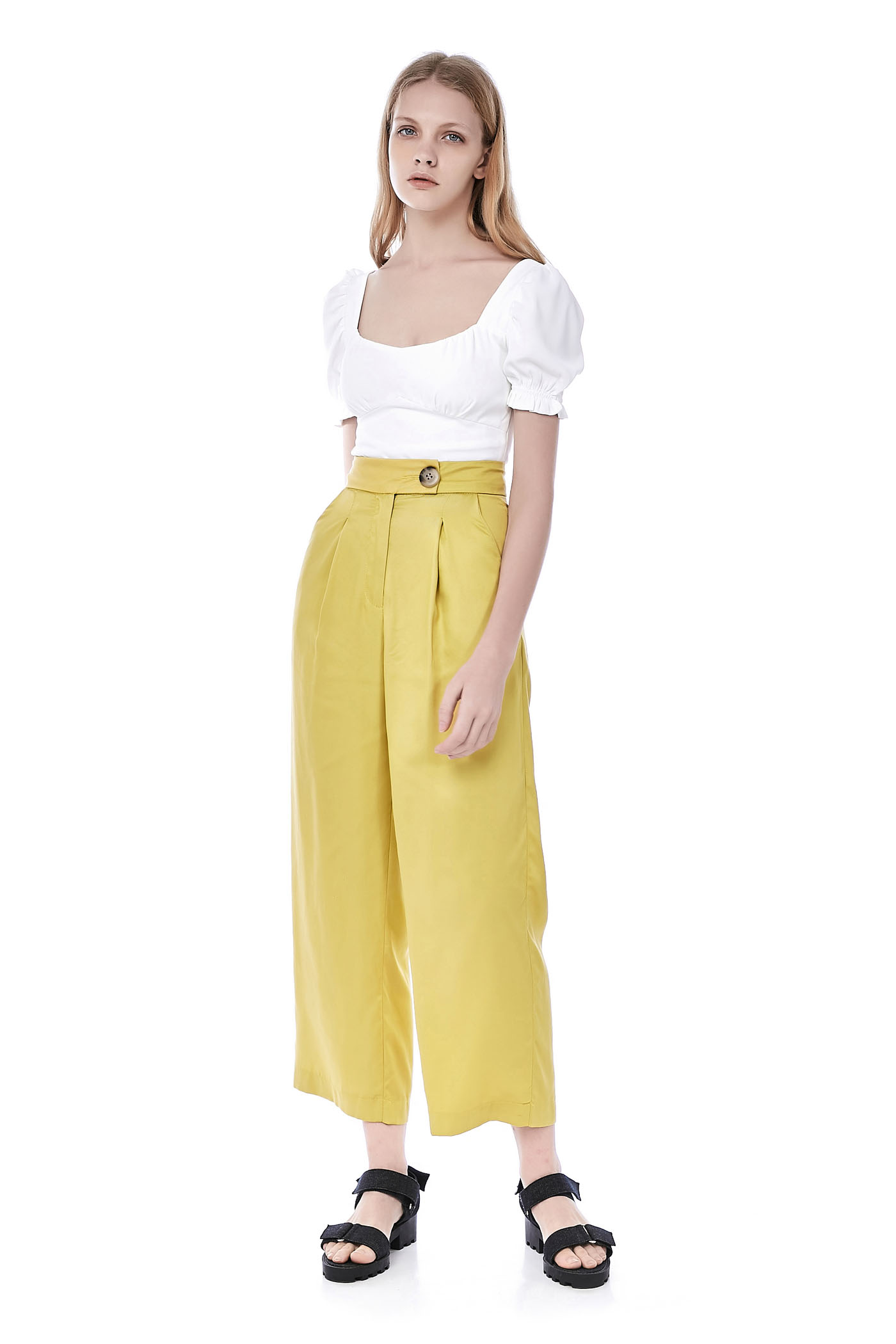 Livya Pouf-Sleeve Crop Top
